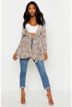 Womens White Woven Leopard Chain Belted Kimono