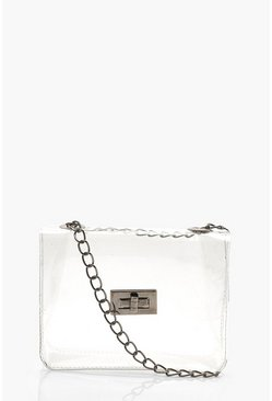 Womens Silver Clear Mini Cross Body Bag