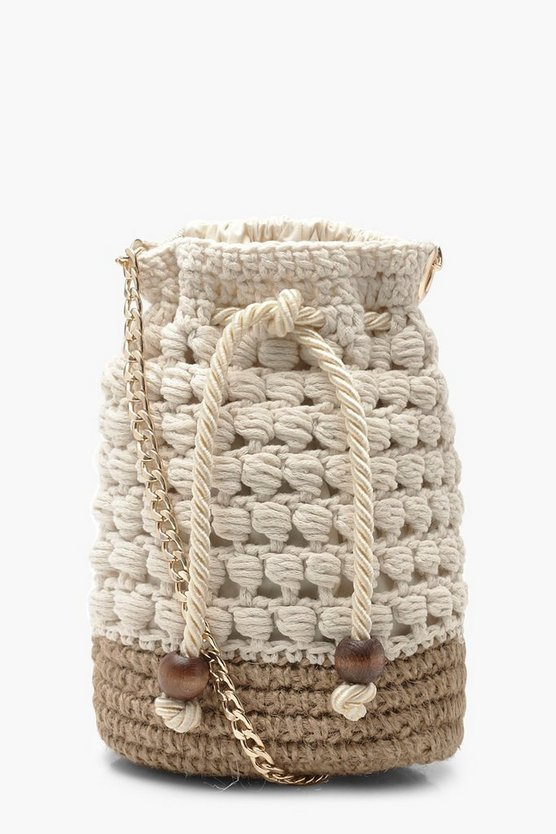 Womens Natural Handmade Crochet Bucket Cross Body Bag