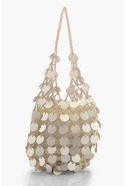 Womens Silver Handmade Sequin Crochet Beach Bag