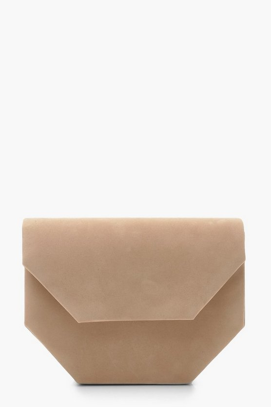 suedette-mini-clutch-bag-&-chain by boohoo