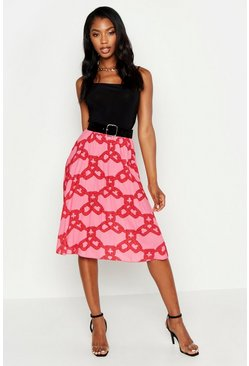 Womens Pink Chain Print Midi Skirt