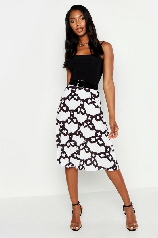 Womens White Chain Print Midi Skirt