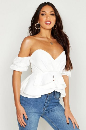 Womens White Off The Shoulder Bustier Ruffle Blouse