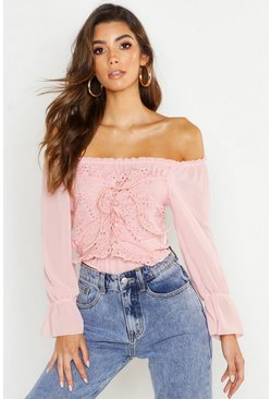 Womens Pink Off The Shoulder Broderie Anglais Crop Top