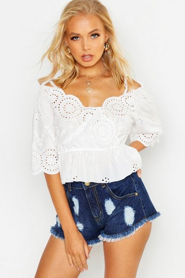Womens White Broderie Anglaise Wrap Top