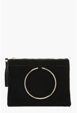 Womens Black Large Ring Suedette Clutch Bag