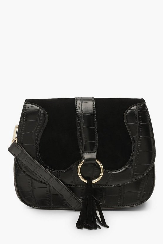Womens Black Ring & Tassel Croc Cross Body Bag