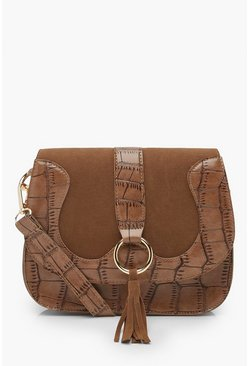 Womens Brown Ring & Tassel Croc Cross Body Bag