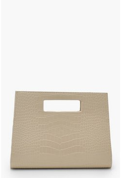 Womens Ivory Croc Structured Handle Clutch Bag
