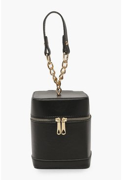 Womens Black Mini Chain Strap Box Bag