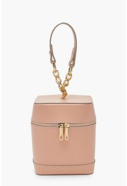 Womens Pink Mini Chain Strap Box Bag