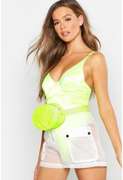 Womens Neon-lime PU Chevron Quilted Neon Bum Bag