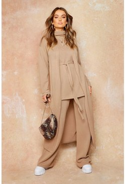 Womens Tan Knitted Maxi Cardigan