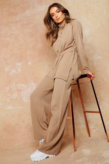 Womens Tan Knit High Neck Jumper & Wide Trouser Set
