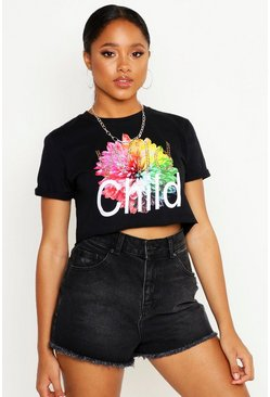 Womens Black Wild Child Rhinestuds Cropped Tee