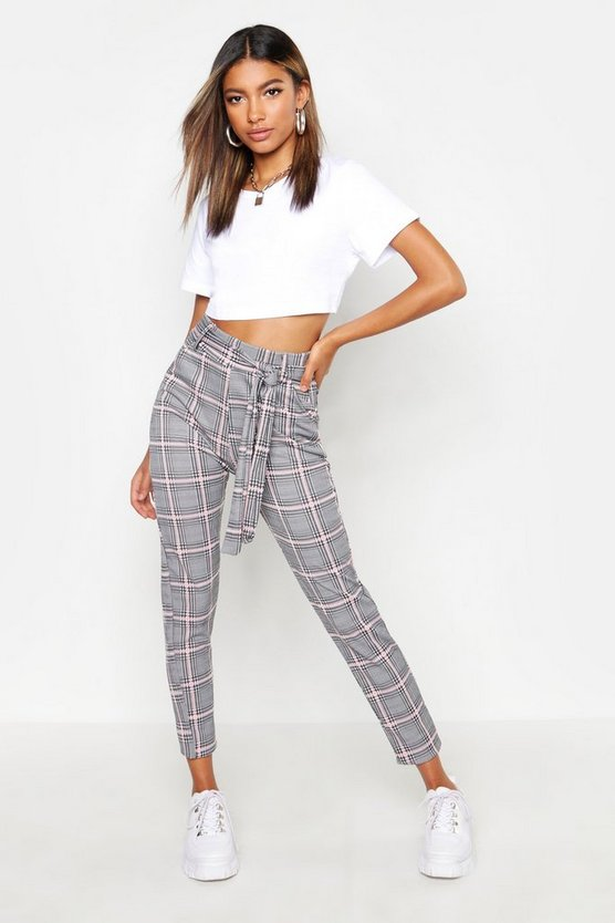 Womens Pink Check Tie Waist Trouser