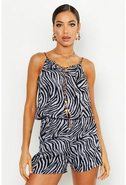 Womens Grey Zebra Playsuit With Front Tie & Beading Detail