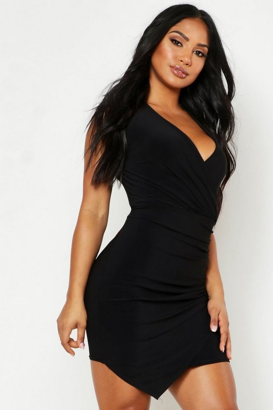 Womens Black Sleeveless Rouche Wrap Mini Dress