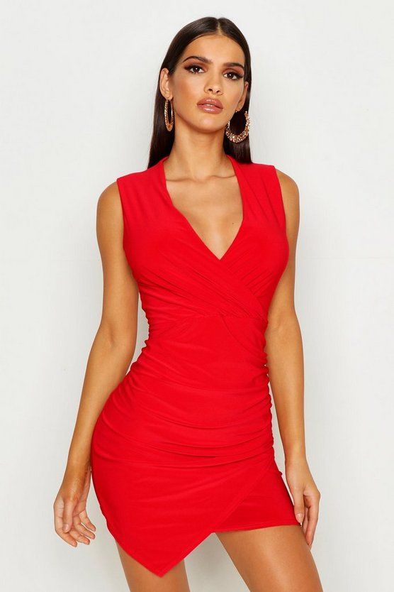 Womens Red Sleeveless Rouche Wrap Mini Dress