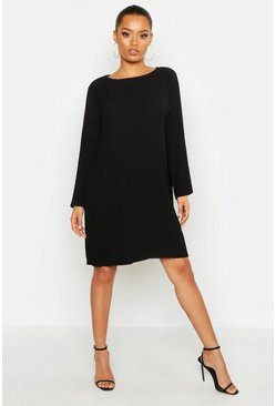 Womens Black Pleated Smock Dress