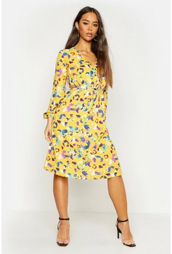 Womens Yellow Leopard Wrap Over Midi Dress