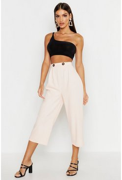 Womens Blush Button Detail Culotte