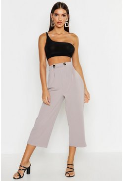 Womens Grey Button Detail Culotte