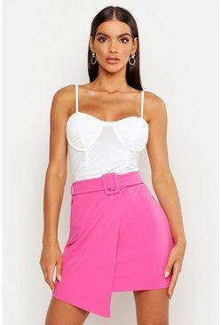 Womens Hot pink Belted Wrap Over Mini Skirt