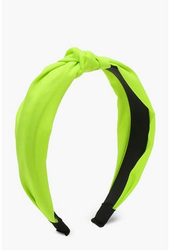Womens Neon-lime Neon Knot Headband