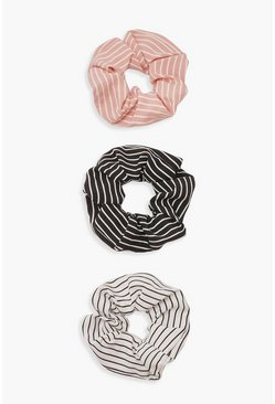 Womens Multi Stripe Scrunchie 3 Pack