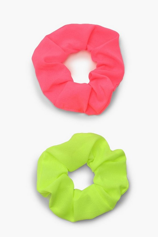 Womens Multi Neon Scrunchie 2 Pack