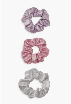 Womens Multi Iridescent Glitter Scrunchie 3 Pack