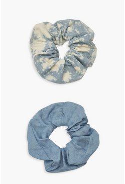 Womens Multi Denim Scrunchie Two Pack
