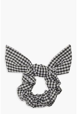 Womens Black Gingham Bow Scrunchie