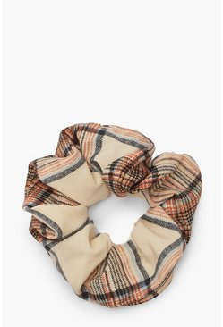 Womens Ecru Tonal Check Scrunchie