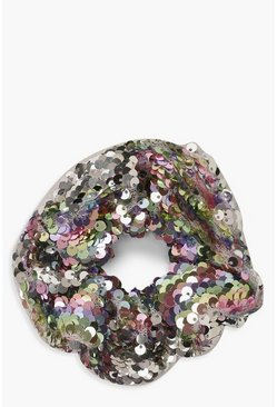 Womens Multi Pastel Sequin Scrunchie