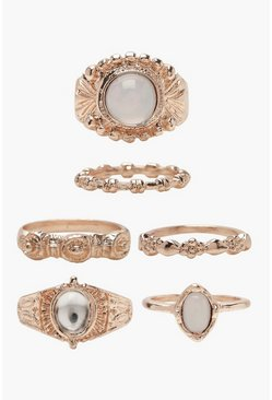 Womens Multi Moonstone Ring Pack