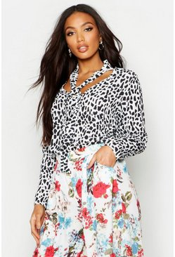Womens White Woven Leopard Pussy Bow Blouse
