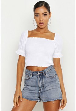 Womens White Shirred Peasant Puff Sleeve Crop Top