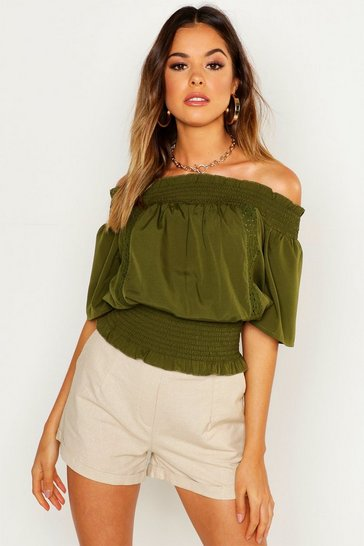 Womens Olive Shirred Lace Trim Over The Shoulder Top