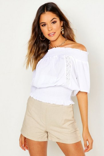 Womens White Shirred Lace Trim Over The Shoulder Top