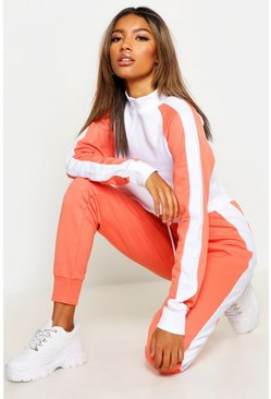 Womens Coral Colour Block Zip Detail Tracksuit