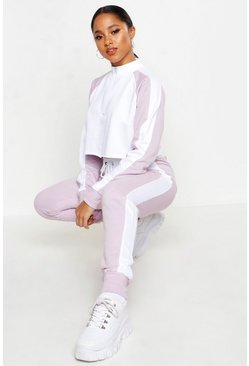 Womens Lilac Colour Block Zip Detail Tracksuit