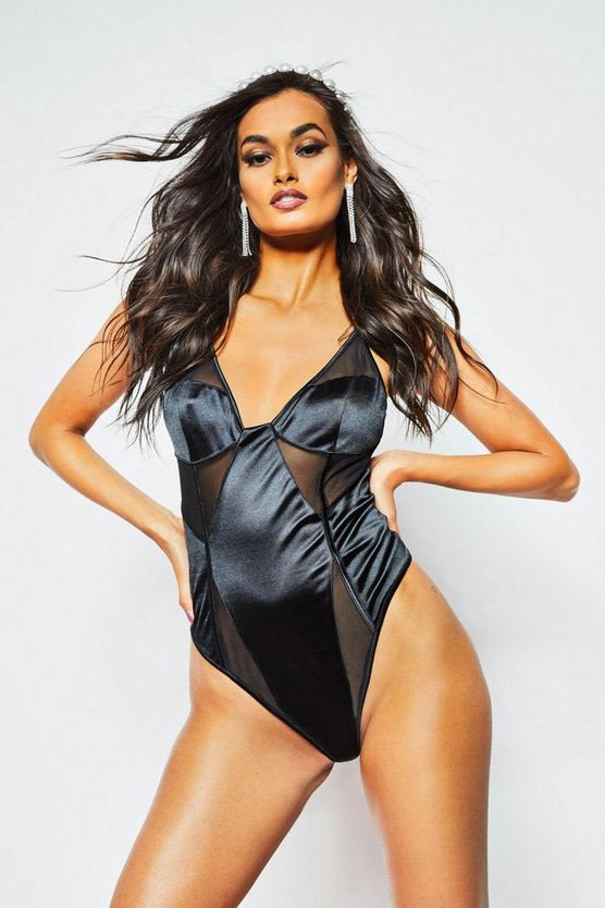 Womens Black Satin Mesh Body