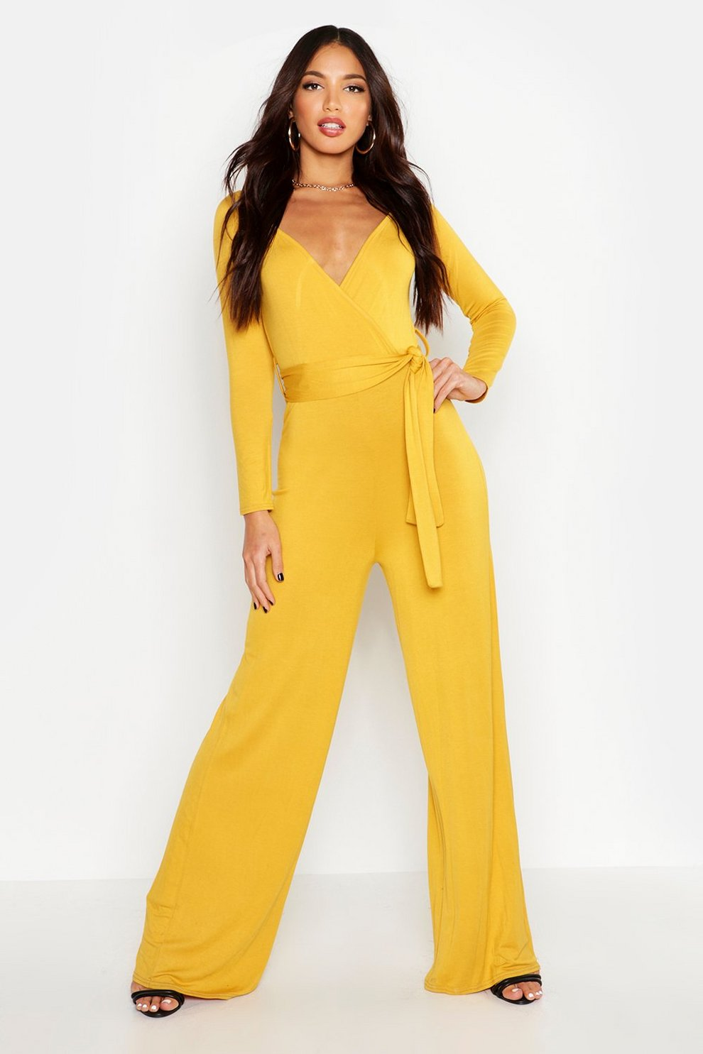 afc62f1e20a Bardot Belted Wrap Jumpsuit | Boohoo