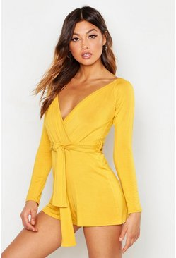 Womens Mustard Bardot Belted Wrap Playsuit