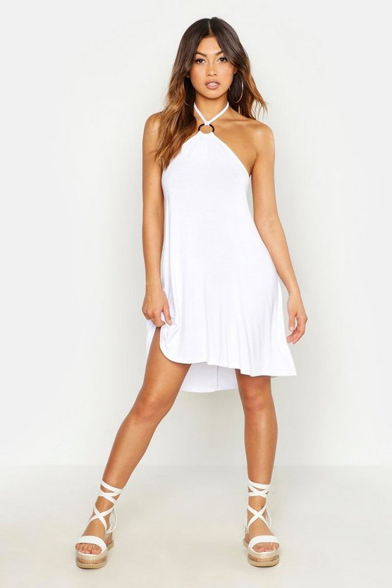 Womens White Ring Detail Sun Dress