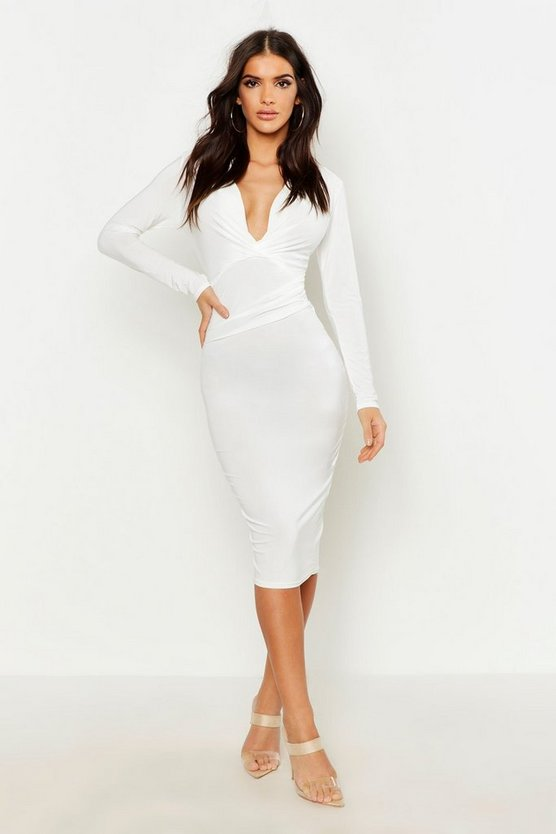 Womens Ivory Slinky Plunge Neck Long Sleeve Midi Dress