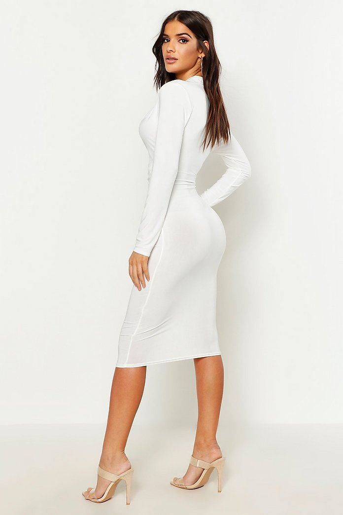 5a5de717873b Slinky Plunge Neck Long Sleeve Midi Dress | Boohoo
